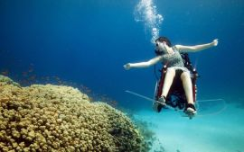 Spectacular Underwater Acrobatics Using a Self-Propelled Wheelchair